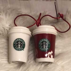 2 2006 CHRISTMAS STARBUCKS COFFEE CUP ORNAMENTS